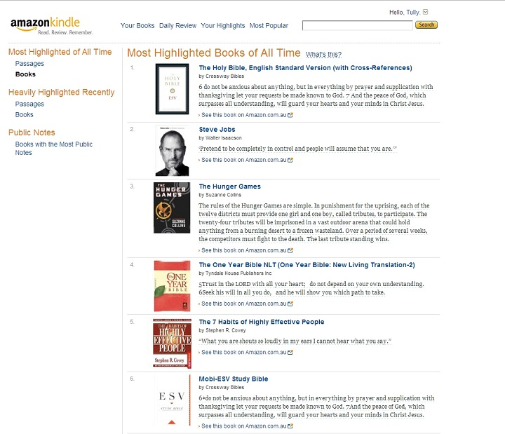 Figure 3: Screen Capture of Amazon's Most Highlighted Books of All Time Webpage