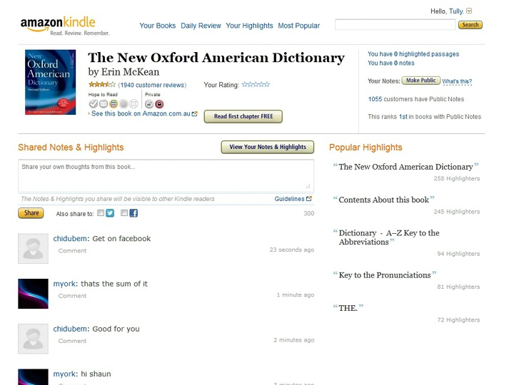 Figure 4: Screen Capture of Amazon's Record of Public Notes on The New Oxford American Dictionary with an Example of a Conversation Taking Place